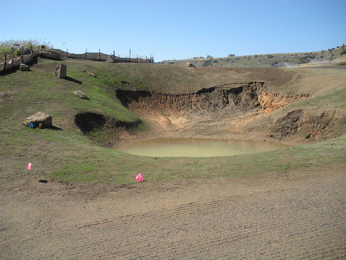 Hole 13 Hillside 1 Large Fairway Bunker prepared for repair