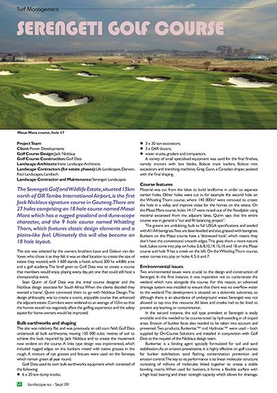 Serengeti Golf Course Landscape SA Article